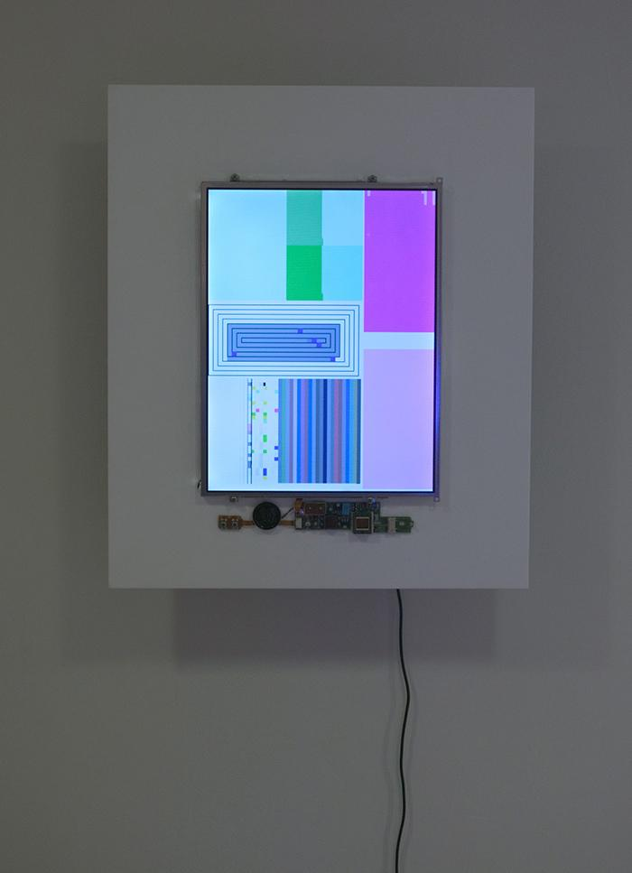John F. Simon, Jr., Color Panel v1.0, 1999. Apple Powerbook 280C, software, and acrylic plastic, 13 1/2 x 10 1/2 x 2 1/2 in. Installation view: Seeing Double: Emulation in Theory and Practice, Solomon R. Guggenheim Museum, New York, March 19–May 16, 2004.