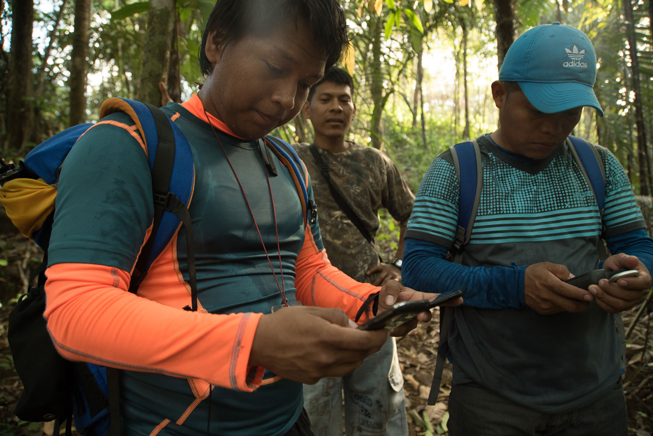 Local monitors Carlos Doviasa and Eliceo Quintero check their GPS position as they trek to a suspected area of deforestation.