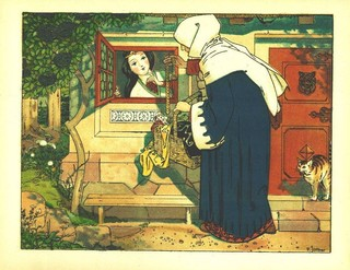 The queen visits Snow-White and offers her some potentially fatal garments. Painting by Franz Jüttner via Wikipedia