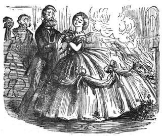 Illustration of a crinoline fire via Wikipedia