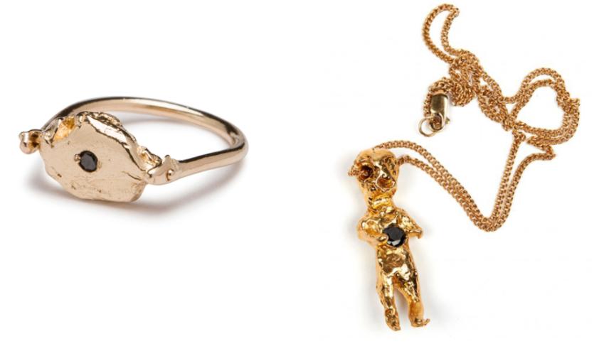 L Flip Ring In 14k Gold With Black Diamond R Voodoo Baby 18k Both Courtesy Of Alice Waese