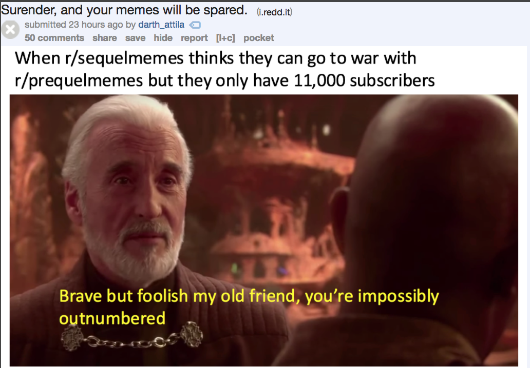 Funniest Meme Subreddits : Reddit is engaged in a highly entertaining star wars