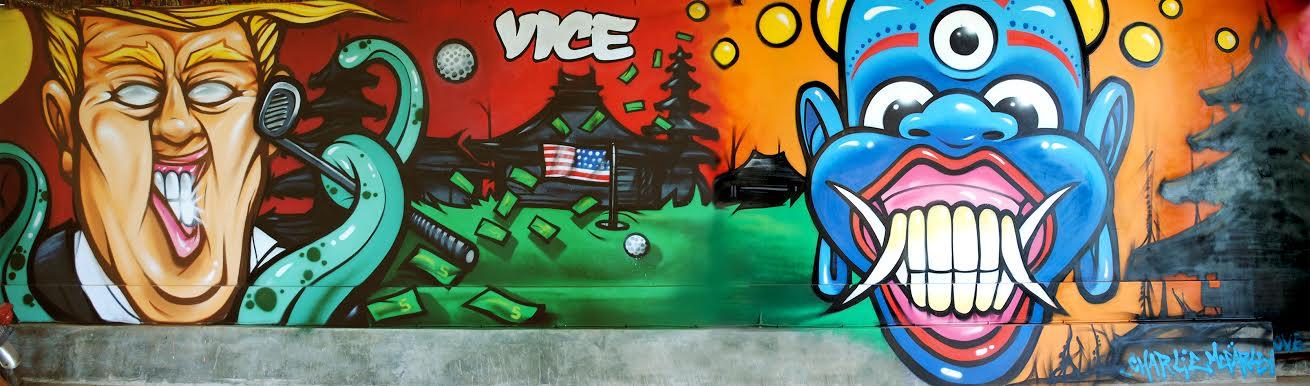 Resultado de imagen para Charlie McFarley mural anti trump