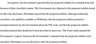 A section of the court filing which lays out the government's position.