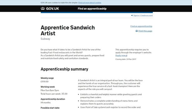 initially found on the uk government find an apprenticeship website the apprentice sandwich artists job posting has since been taken down amid a flurry