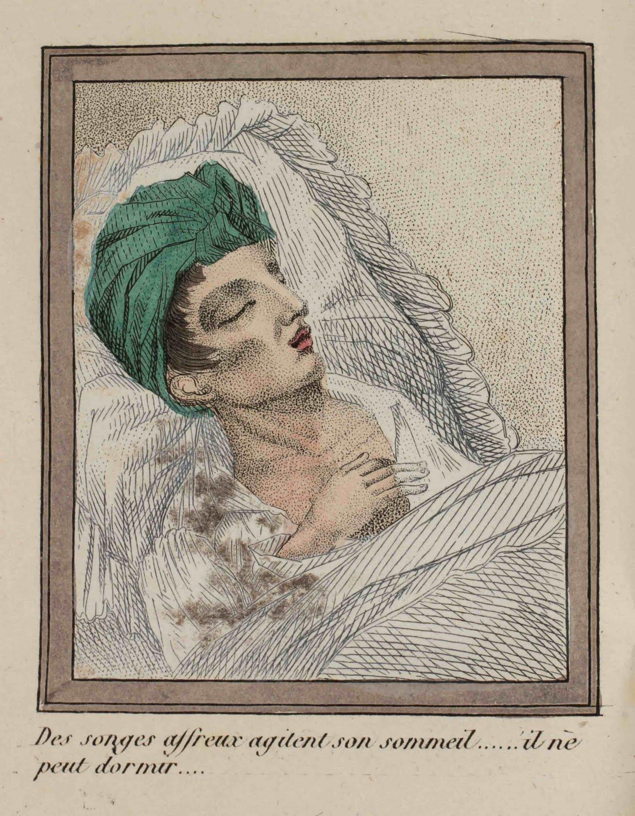Hideous dreams disturb his slumber... he cannot sleep...