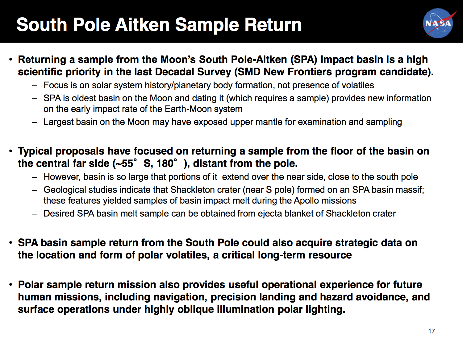 Another of NASA's slides sent to the Trump transition team.