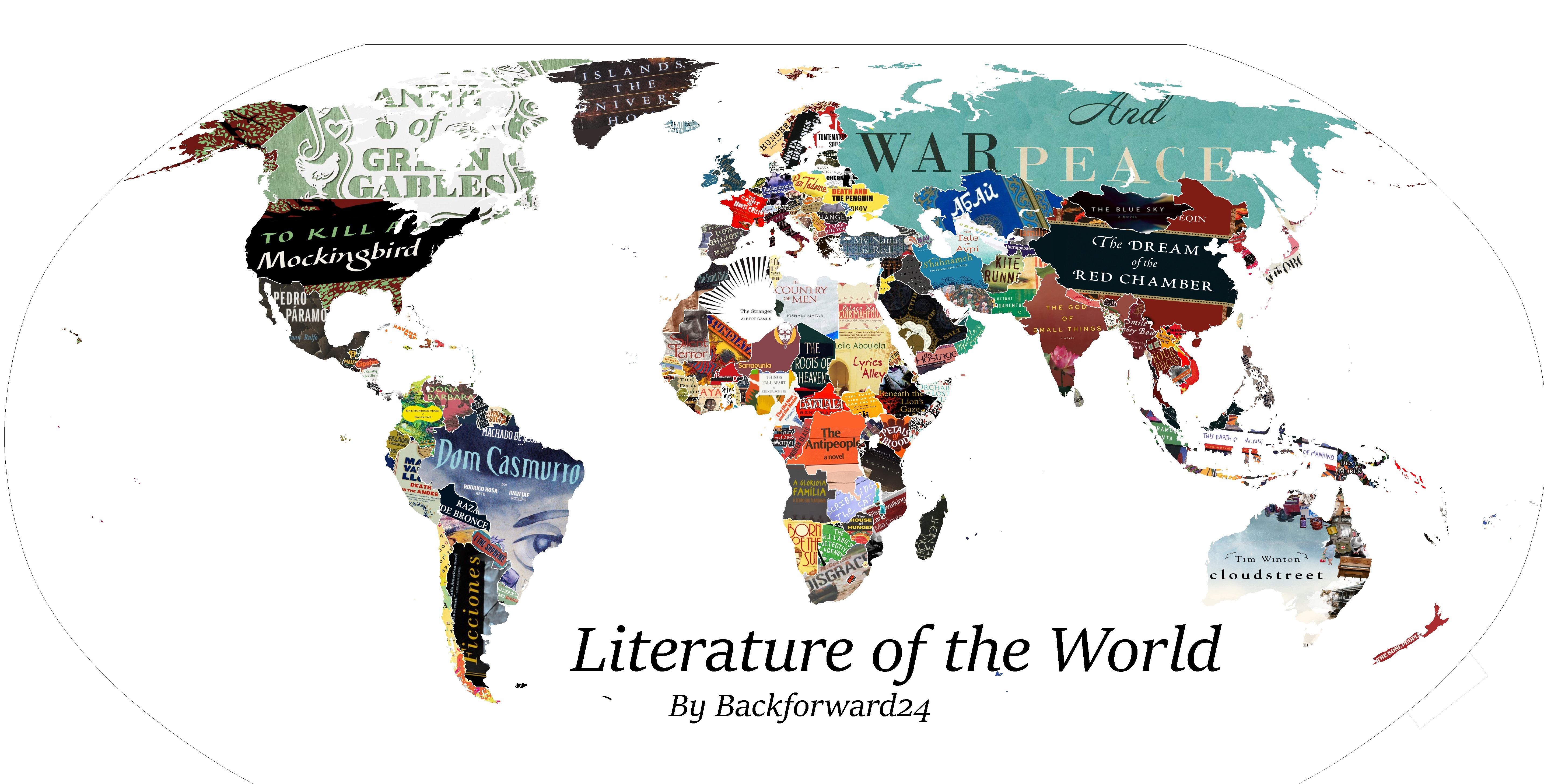 Chart every countrys favourite book on this map creators below however we have listed three titles per region for you to see how big of an undertaking this is you can see the complete list here and obviously gumiabroncs Choice Image