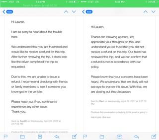 Uber's responses to Lauren Hernandes