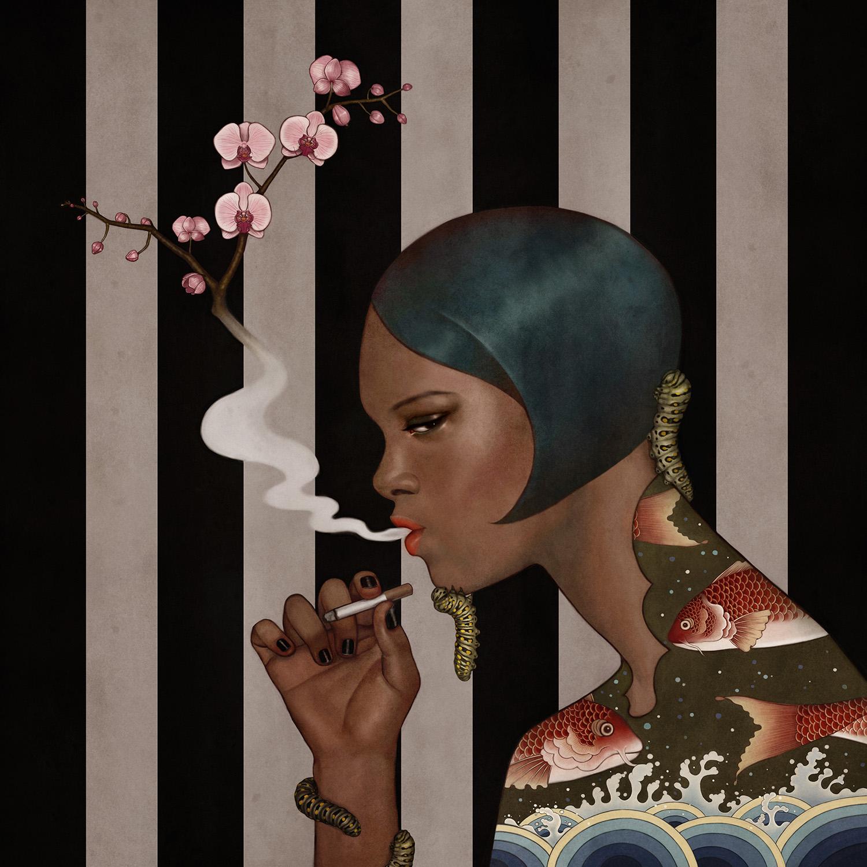 Ilustrasi perempuan merokok dengan tubuh bergambar ikan dan ombak laut. Empat ekor ulat melata di sepanjang tubuhnya
