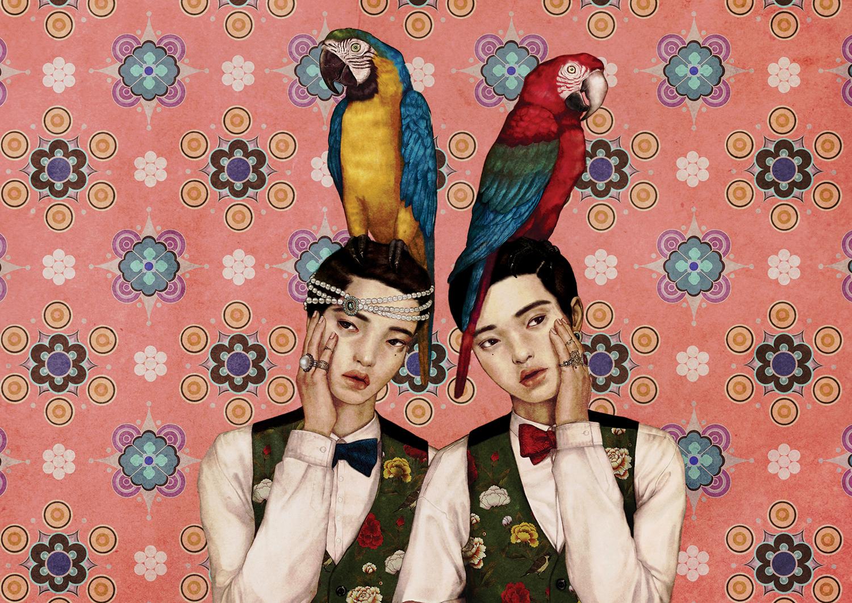 Ilustrasi dua orang dihinggapi burung