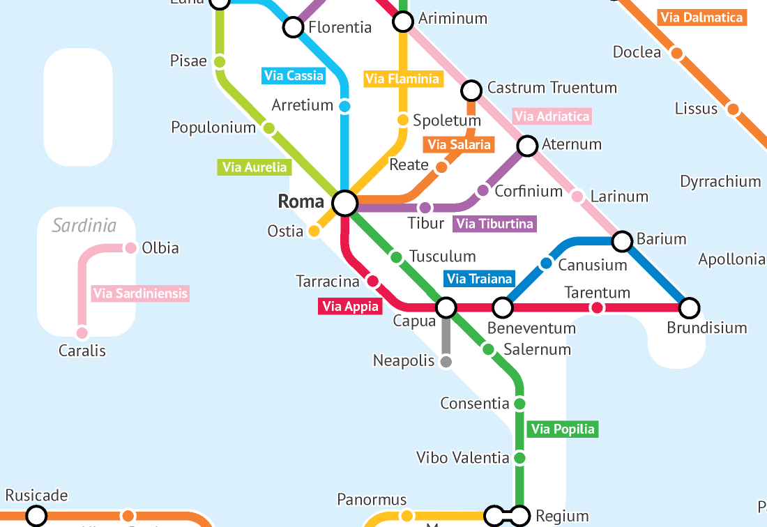 The Roads Of The Roman Empire As A Subway Map Creators - Rome metro map 2016