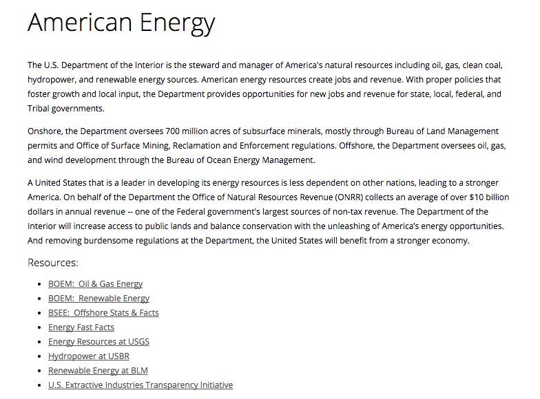 The Interior Departmentu0027s New Energy Webpage.