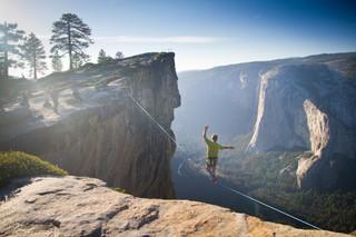 high-lining Yosemite