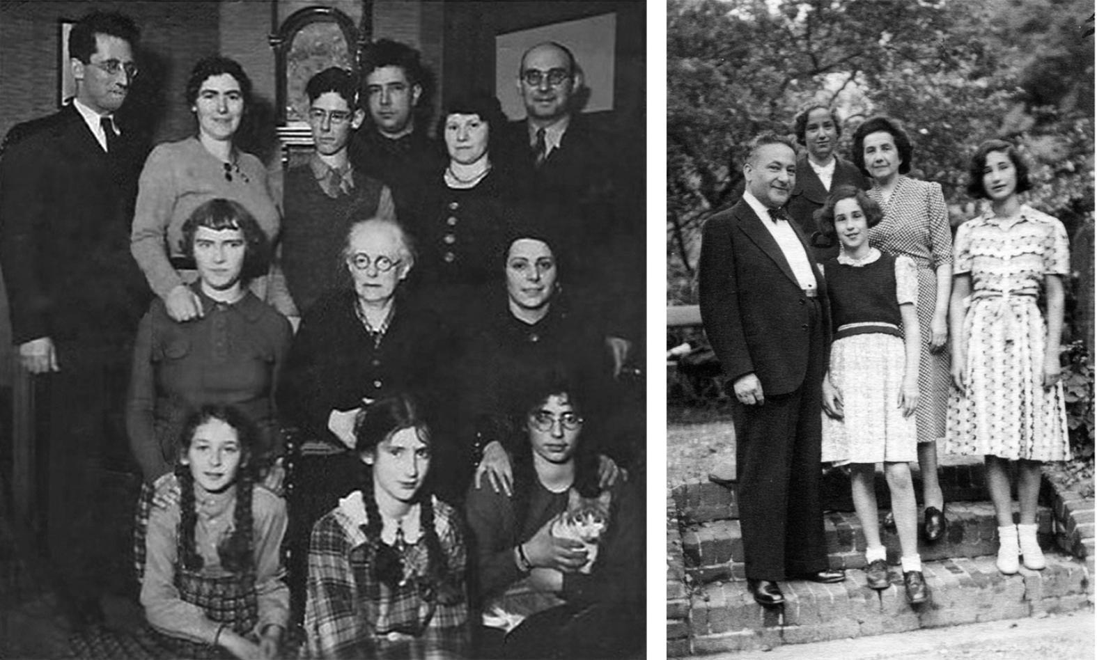 Stânga: Bruno Asch (stânga, spate) și-a luat viața înainte ca familia lui să fie capturată. Dreapta: Familia Win.