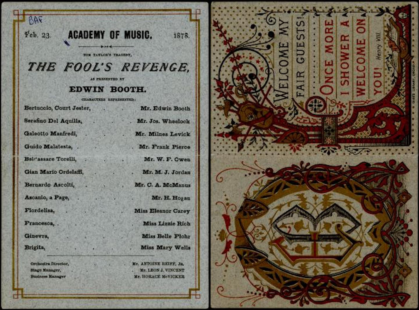 Playbill for Edwin Booth's 'The Fool's Revenge, 1878