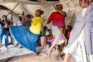 Nairobi, KENYA, February 21, 2017: (FL) Elizabeth Kamau, 60, Ann Ajuma Okiri, 56, and Hannah Wanja, 72, practice self-defense techniques during a 'Shosho Jikinge' class in the Korogocho township. All three have successfully escaped or fought off potential sexual attackers since joining the group, as have most of the other participants. The classes effectively help prevent sexual violence: the number of reported cases of rape on elderly women in Nairobi's slums has reduced significantly.