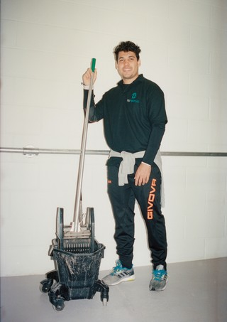 Luciano, a cleaner at London Fashion Week