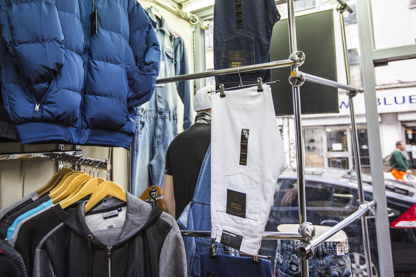 a5cb3573 I enter, and see in front of me a treasure trove of dungarees, combat  jackets, jeans and jorts. Looking closer, every single item is Georgio  Peviani.