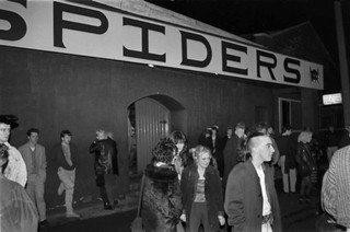 Black and white photo of Spiders nightclub in Hull