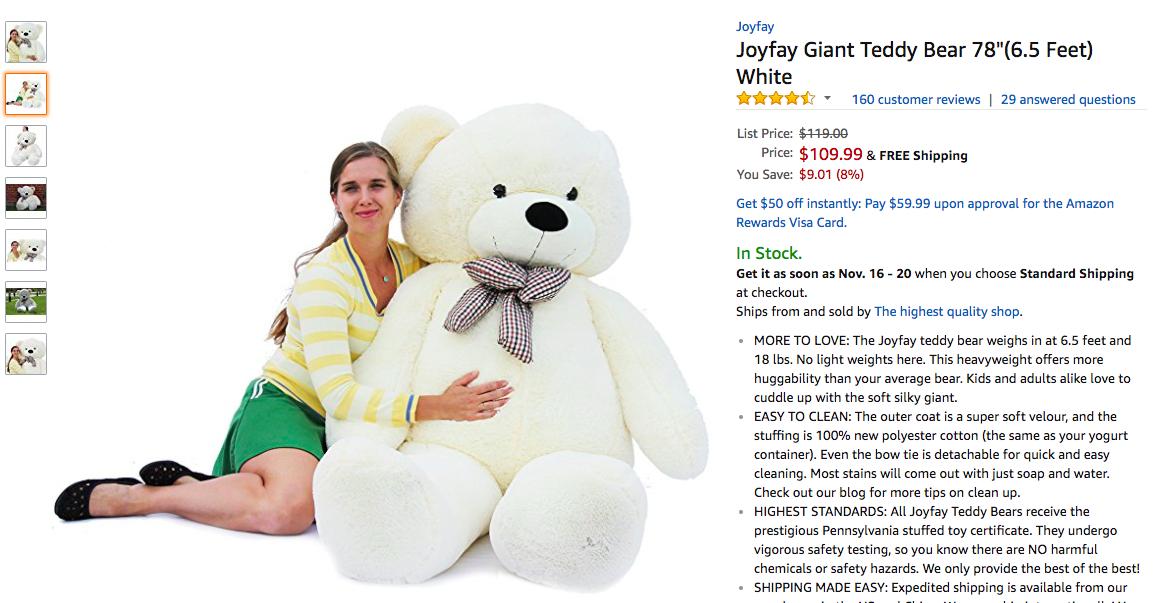 duplicitous teddy bear shocks amazon shoppers with grotesquely long