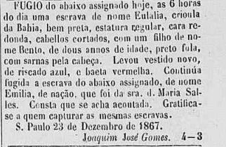 Anuncio publicado en el Correio Paulistano, 27/12/1867, en el que se denunciaba la fuga de un esclavo, cuyos datos se ofrecían con todo lujo de detalles.