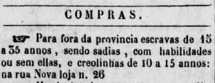 Anuncio publicado en el Diário de Pernambuco, el 12 de noviembre de 1842.