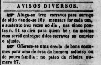 Anuncio publicado en el Diário de Pernambuco, el 15 de noviembre de 1842.