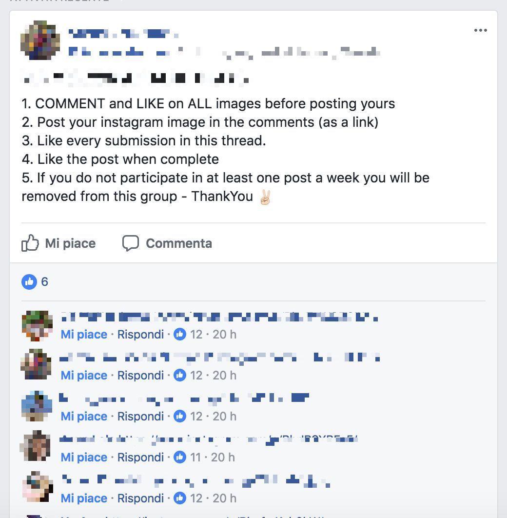 I gruppi segreti per ricevere like da centinaia di sconosciuti su
