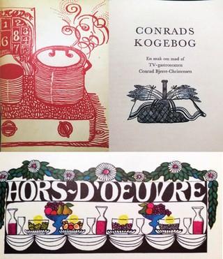 Billeder fra Conrads Kogebog, udgivet i 1967 og illustreret af Vibeke Kyhl. Foto: Privateje