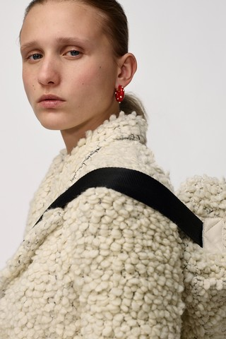 Phoebe Philo's final Céline collection: white knit coat