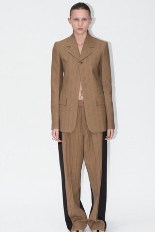 Phoebe Philo's final Céline collection: brown pinstriped suit