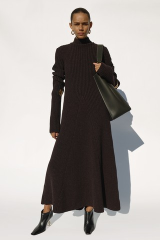 Phoebe Philo's final Céline collection: black knit dress
