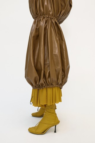 Phoebe Philo's final Céline collection: mustard yellow and brown dress