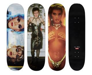 Nan Goldin skateboards for Supreme featuring Kim in Rhinestones