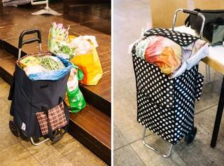 Aus dem Trolley von Marianne lugen Brechbohnen und eine Packung Toast hervor, daneben stehen zwei volle Einkaufsbeutel