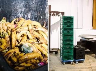 Zerdrückte und aufgerissene Bananen stapeln sich in einer Biotonne, dazwischen liegt eine zerquetschte Feige