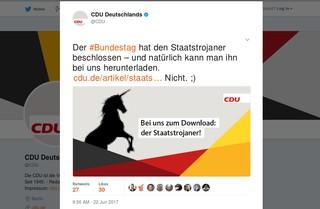 Screenshot des CDU-Tweets zum Staatstrojaner: Bei uns zum Download!