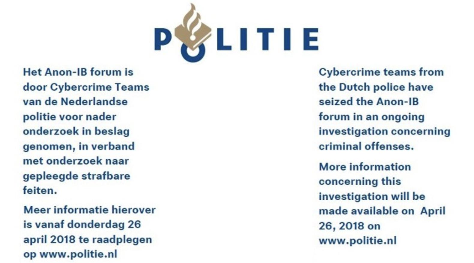 de nederlandse politie heeft de wraakpornosite anon-ib offline