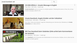 Suchergebnis auf YouTube für Interviews mit der bekannten Holocaust-Leugnerin Ursula Haverbeck.