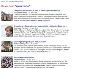 Google-News-Suche nach dem falsch geschriebenen Namen der Kanzlerin: Angelika Merkel