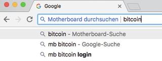 Ein Screenshot zeigt, wie die spezialisierte Website-Suche für Motherboard aussieht