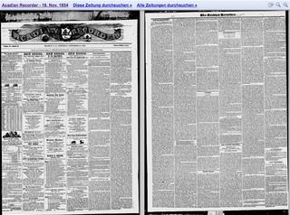Eine Zeitung aus dem Jahr 1854 bei Google