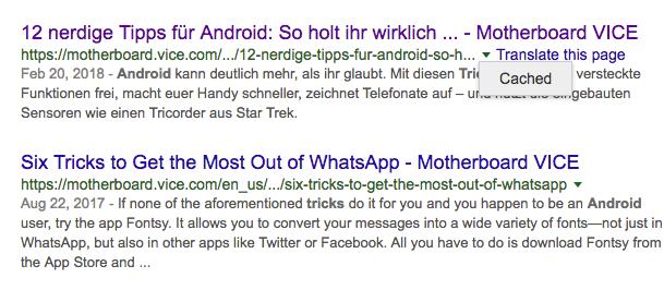 So findet ihr in der Google-Suche die Artikel im Cache