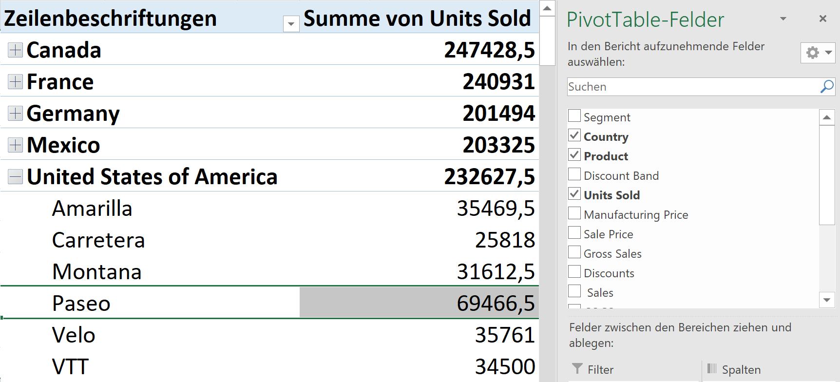 Parameter auswählen bei einer Pivot-Tabelle