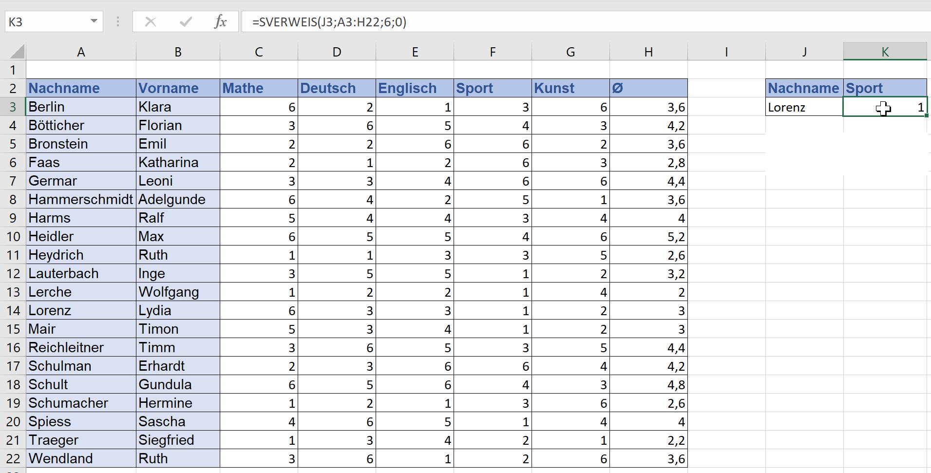 SVERWEIS bei Excel