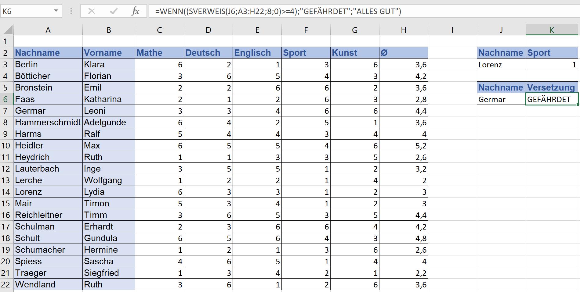 SVERWEIS und WENN-DANN-Funktion bei Excel