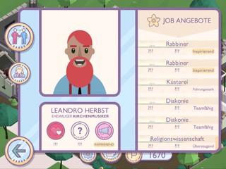 Der Screenshot aus dem Spiel 'Amtliche Helden' zeigt einen Arbeitslosen, den der Spieler vermitteln soll.