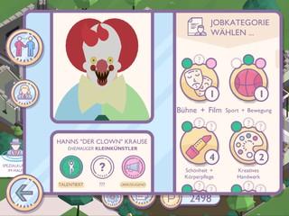 Der Screenshot aus dem Spiel 'Amtliche Helden' zeigt das Profil eines Horrorclowns.