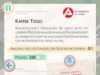 Der Screenshot zeigt eine Aufgabe, die Spieler im Spiel 'Amtliche Helden' erledigen sollen.